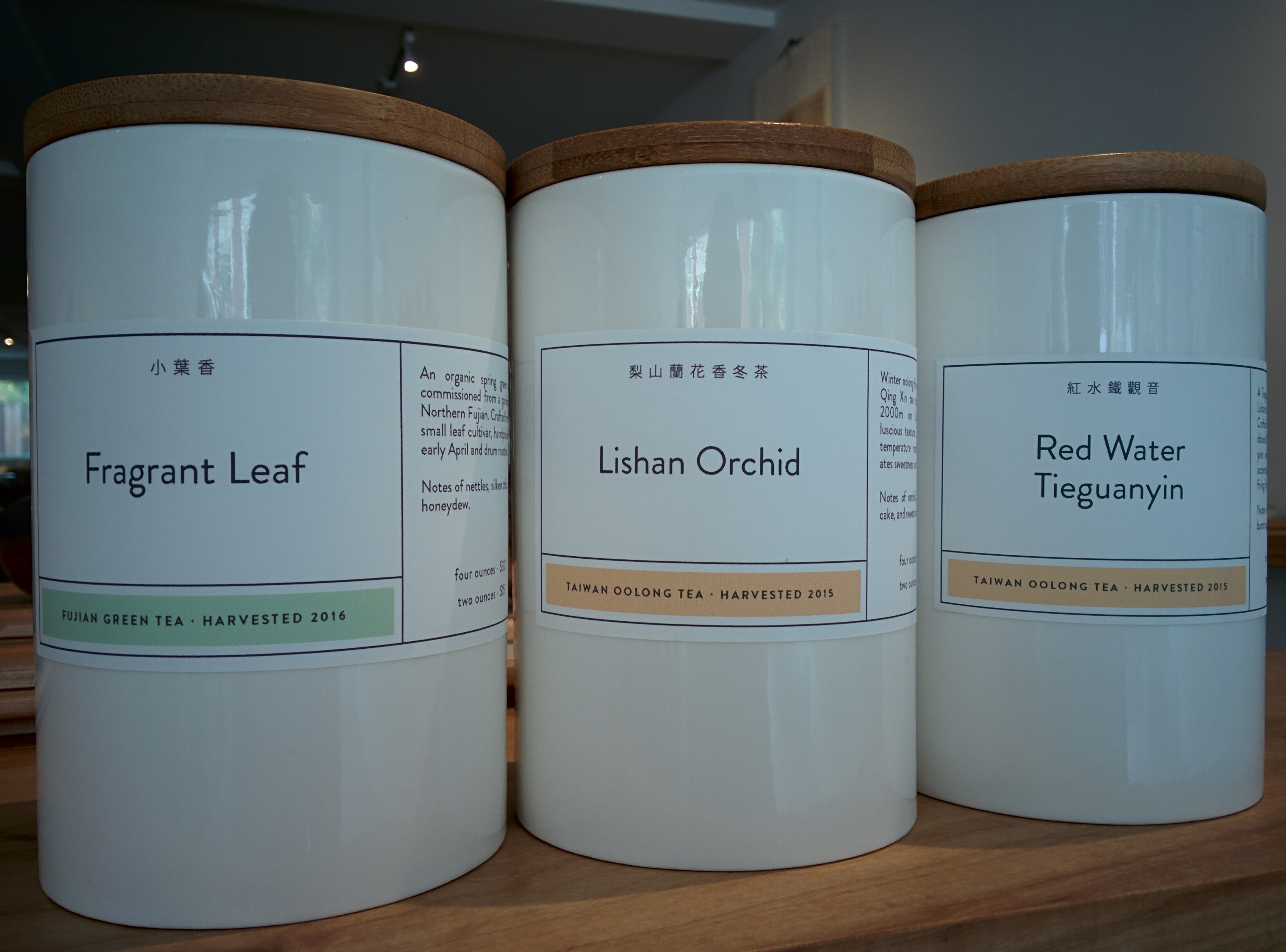 Song Tea's Fragrant Leaf Green Tea, Lishan Orchid oolong, and Red Water Tieguanyin oolong